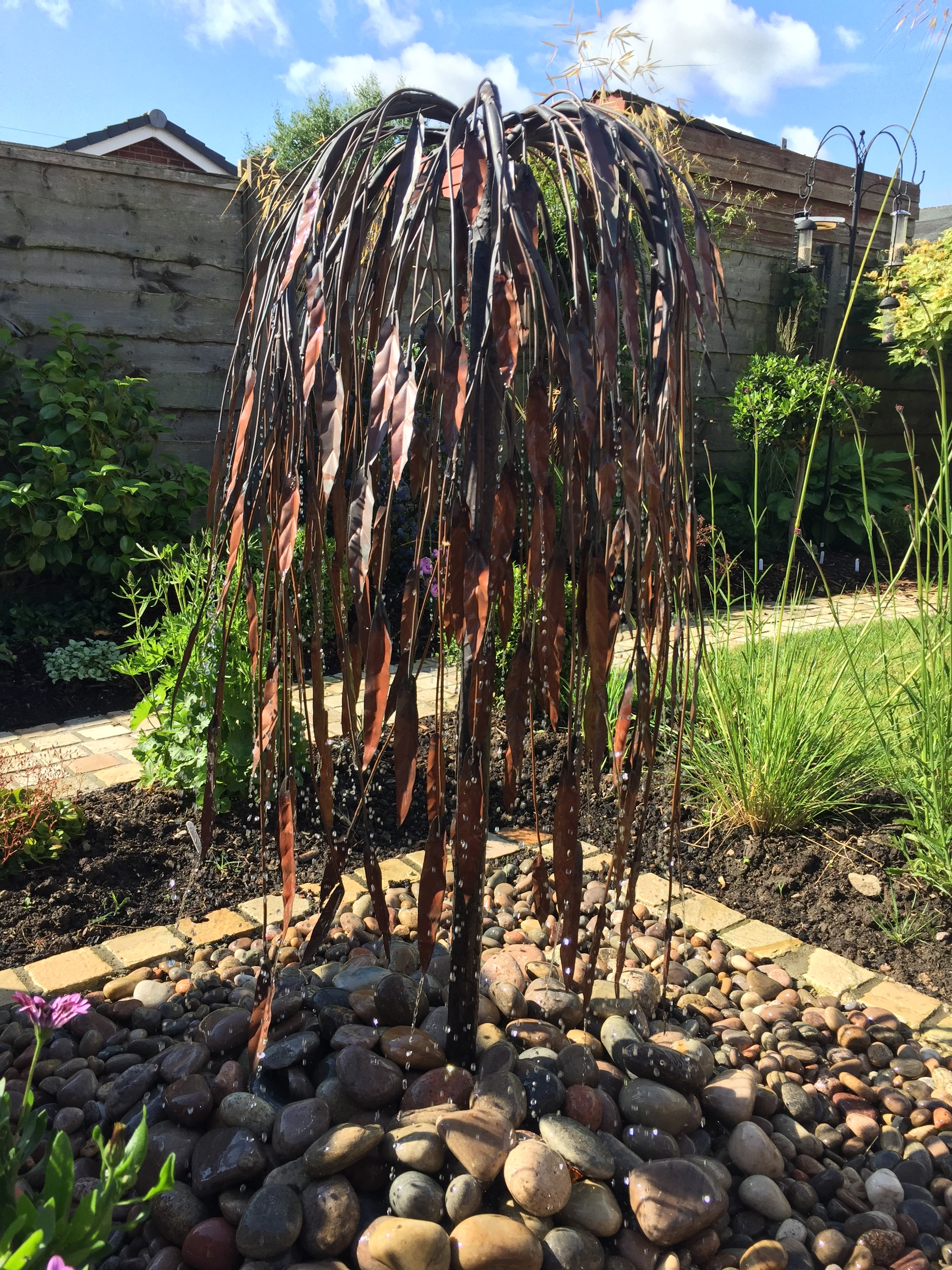 Copper tree water feature